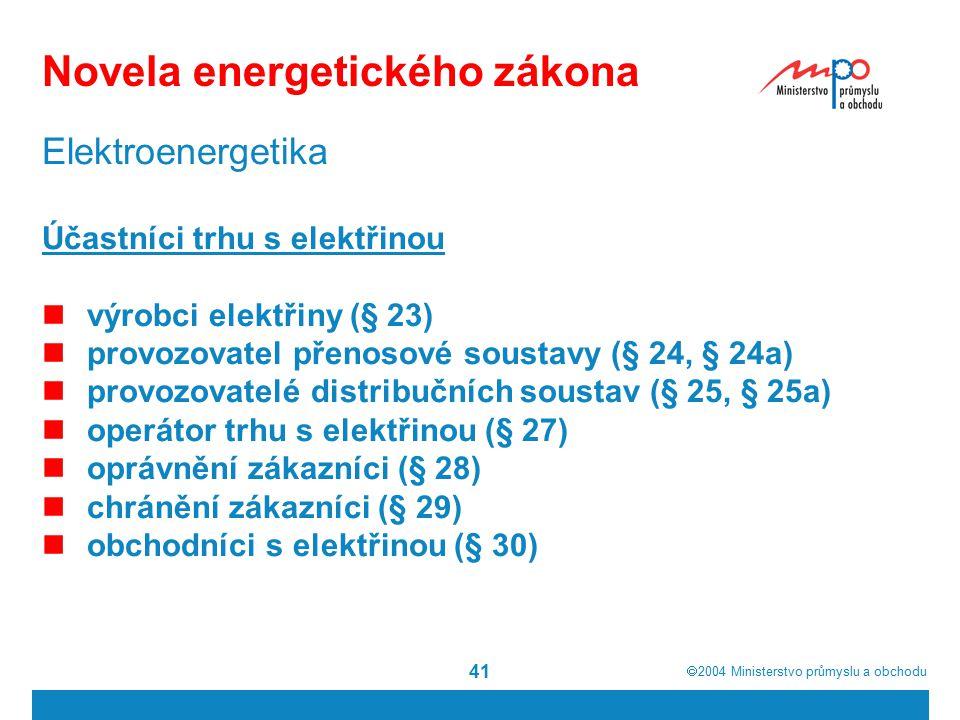  2004  Ministerstvo průmyslu a obchodu 41 Novela energetického zákona Elektroenergetika Účastníci trhu s elektřinou výrobci elektřiny (§ 23) provozovatel přenosové soustavy (§ 24, § 24a) provozovatelé distribučních soustav (§ 25, § 25a) operátor trhu s elektřinou (§ 27) oprávnění zákazníci (§ 28) chránění zákazníci (§ 29) obchodníci s elektřinou (§ 30)