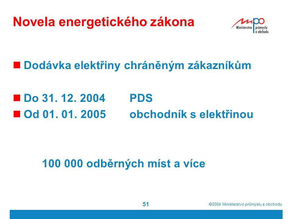  2004  Ministerstvo průmyslu a obchodu 51 Novela energetického zákona Dodávka elektřiny chráněným zákazníkům Do 31.