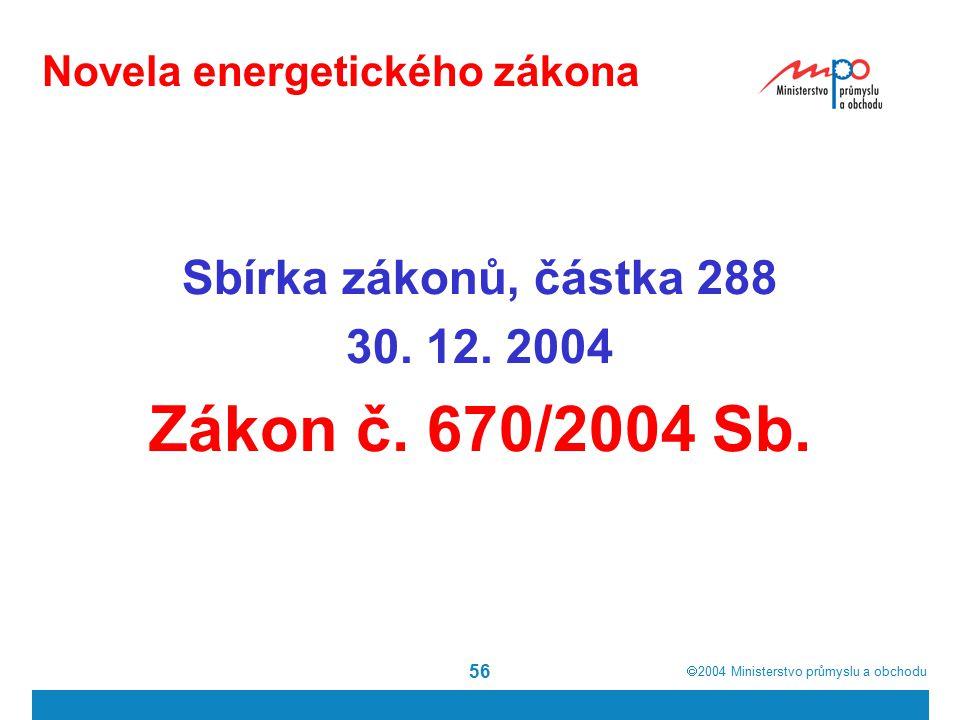  2004  Ministerstvo průmyslu a obchodu 56 Novela energetického zákona Sbírka zákonů, částka 288 30.