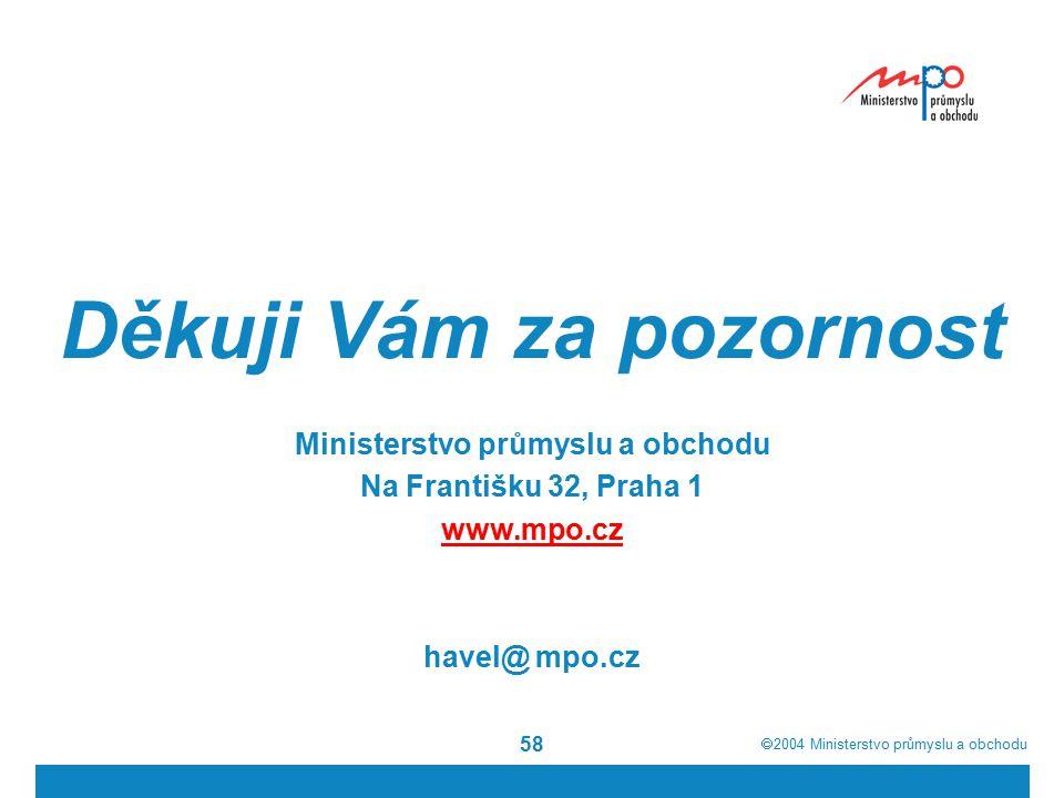  2004  Ministerstvo průmyslu a obchodu 58 Děkuji Vám za pozornost Ministerstvo průmyslu a obchodu Na Františku 32, Praha 1 www.mpo.cz havel@ mpo.cz