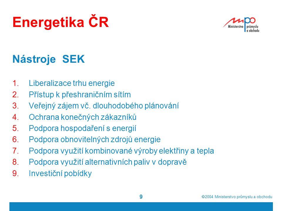  2004  Ministerstvo průmyslu a obchodu 9 Energetika ČR Nástroje SEK 1.Liberalizace trhu energie 2.Přístup k přeshraničním sítím 3.Veřejný zájem vč.
