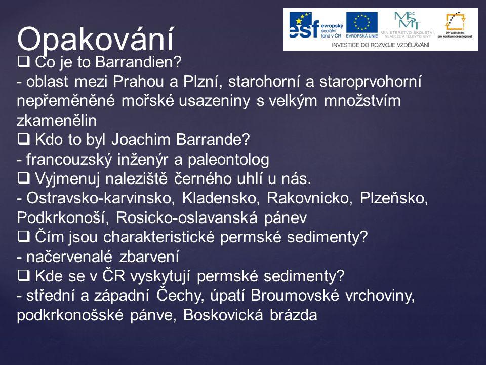  Co je to Barrandien? - oblast mezi Prahou a Plzní, starohorní a staroprvohorní nepřeměněné mořské usazeniny s velkým množstvím zkamenělin  Kdo to b