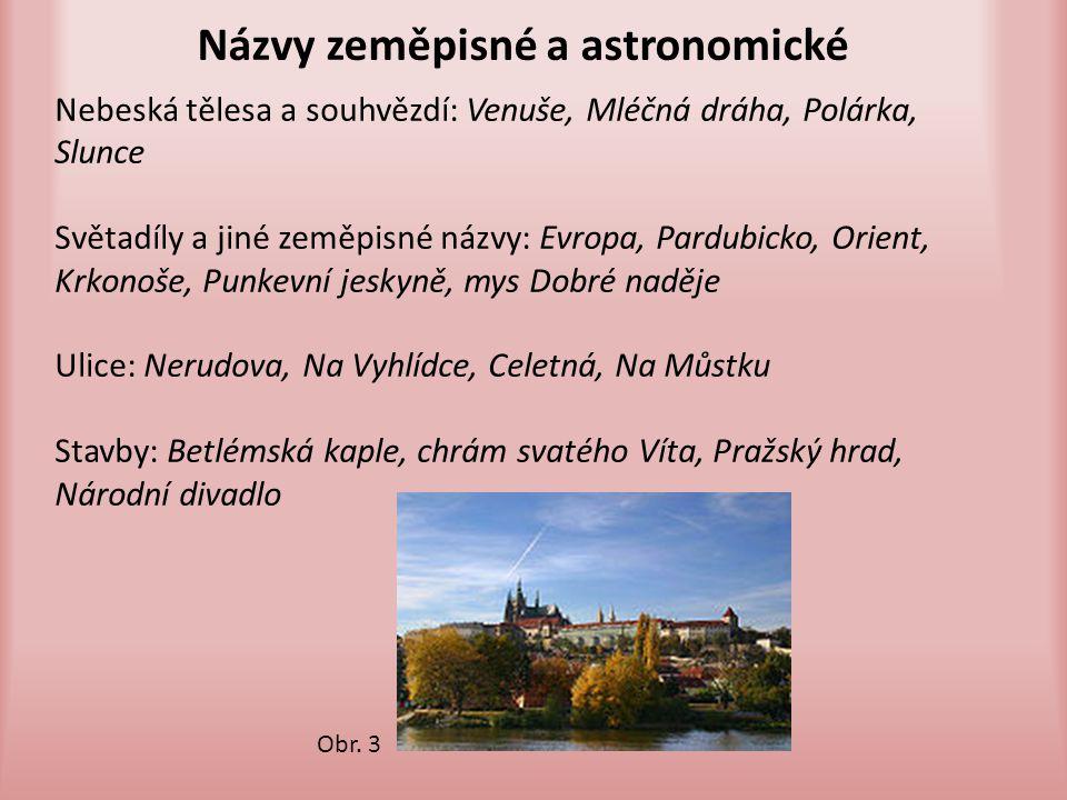 Názvy zeměpisné a astronomické Nebeská tělesa a souhvězdí: Venuše, Mléčná dráha, Polárka, Slunce Světadíly a jiné zeměpisné názvy: Evropa, Pardubicko,