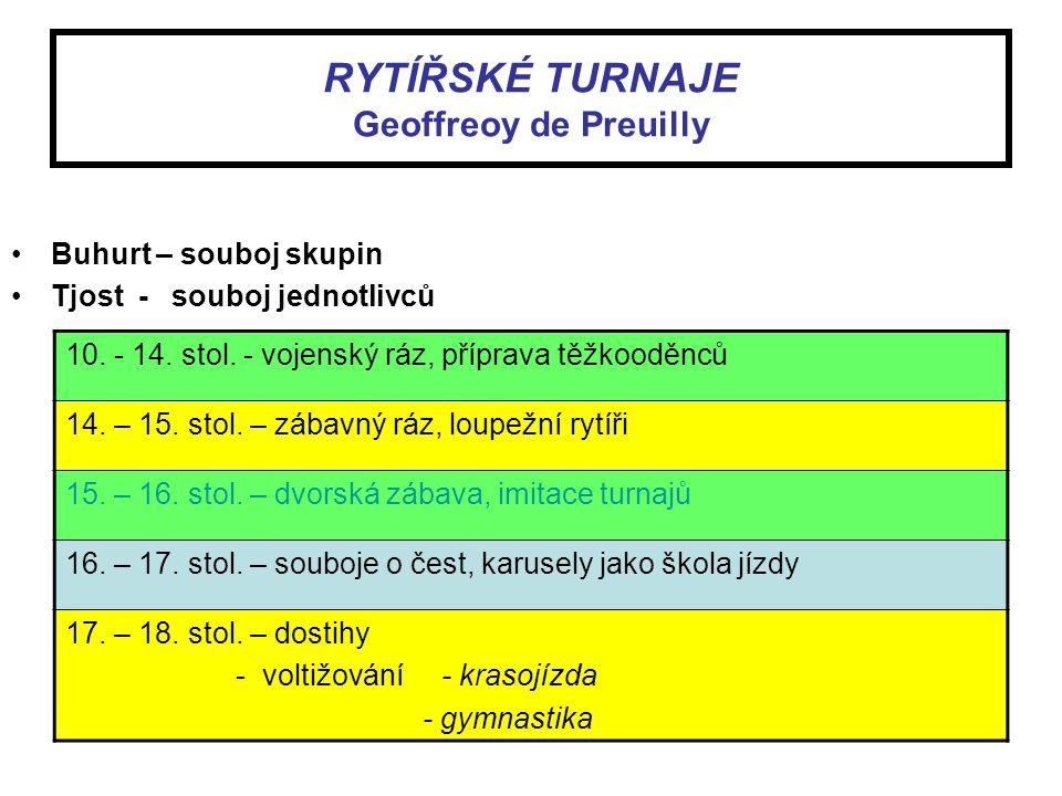 RYTÍŘSKÉ TURNAJE Geoffreoy de Preuilly Buhurt – souboj skupin Tjost - souboj jednotlivců 10. - 14. stol. - vojenský ráz, příprava těžkooděnců 14. – 15