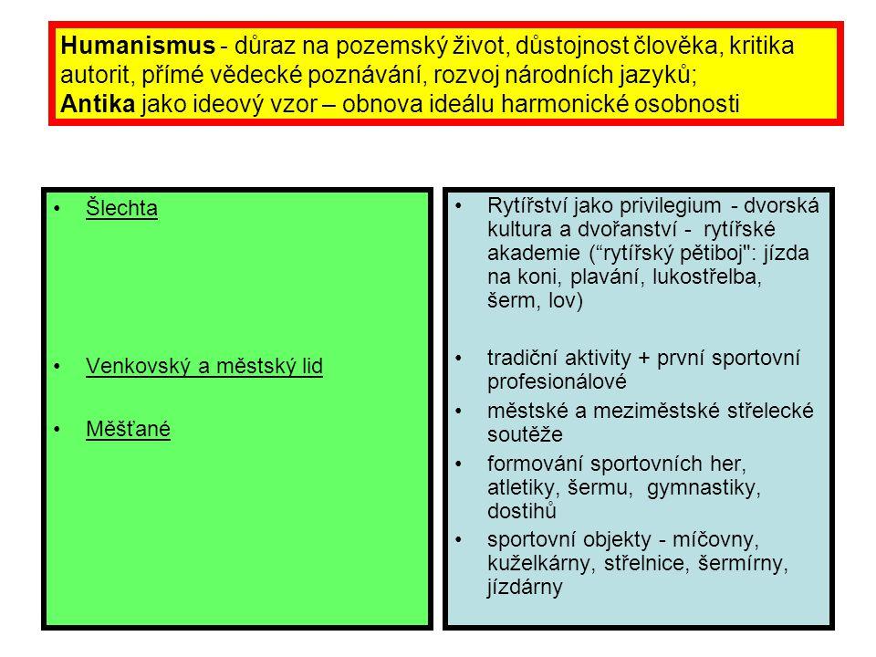 Humanismus - důraz na pozemský život, důstojnost člověka, kritika autorit, přímé vědecké poznávání, rozvoj národních jazyků; Antika jako ideový vzor –