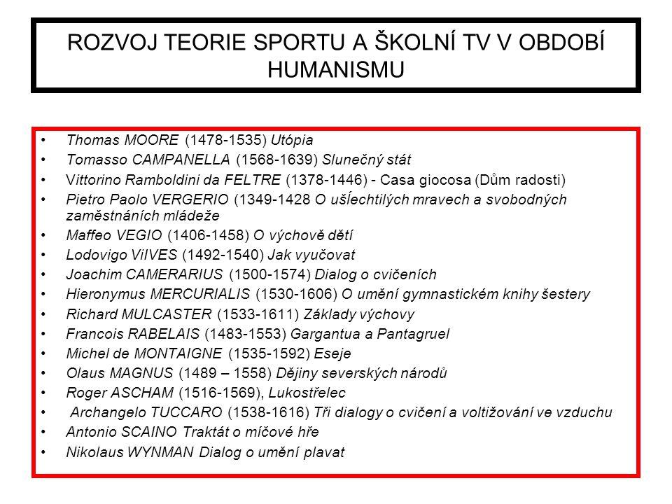 ROZVOJ TEORIE SPORTU A ŠKOLNÍ TV V OBDOBÍ HUMANISMU Thomas MOORE (1478-1535) Utópia Tomasso CAMPANELLA (1568-1639) Slunečný stát Vittorino Ramboldini