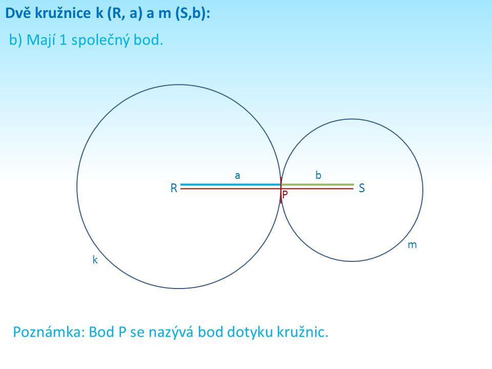 Dvě kružnice k (R, a) a m (S,b): b) Mají 1 společný bod. RS k m ab Poznámka: Bod P se nazývá bod dotyku kružnic. P