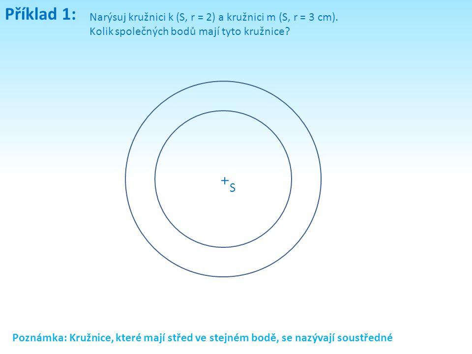 Příklad 1: Narýsuj kružnici k (S, r = 2) a kružnici m (S, r = 3 cm). Kolik společných bodů mají tyto kružnice? Poznámka: Kružnice, které mají střed ve