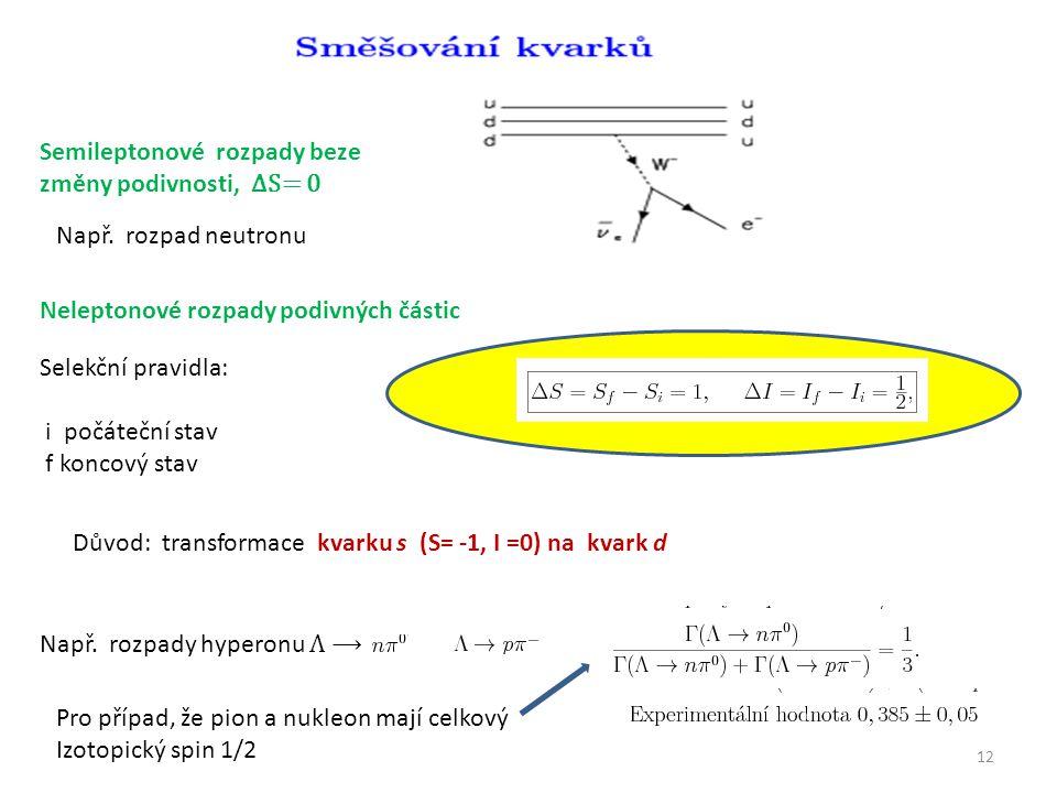 12 Semileptonové rozpady beze změny podivnosti, ΔS= 0 Např.
