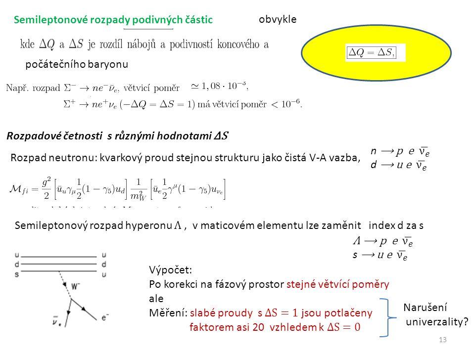 13 Semileptonové rozpady podivných částic obvykle počátečního baryonu Rozpadové četnosti s různými hodnotami ΔS Rozpad neutronu: kvarkový proud stejnou strukturu jako čistá V-A vazba, Semileptonový rozpad hyperonu Λ, v maticovém elementu lze zaměnit index d za s Výpočet: Po korekci na fázový prostor stejné větvící poměry ale Měření: slabé proudy s ΔS = 1 jsou potlačeny faktorem asi 20 vzhledem k ΔS = 0 Narušení univerzality