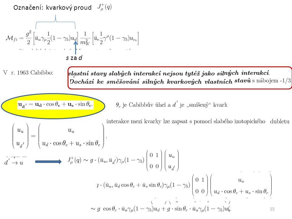 15 s za d Označení: kvarkový proud