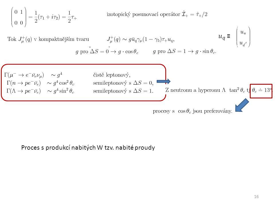 16 Proces s produkcí nabitých W tzv. nabité proudy