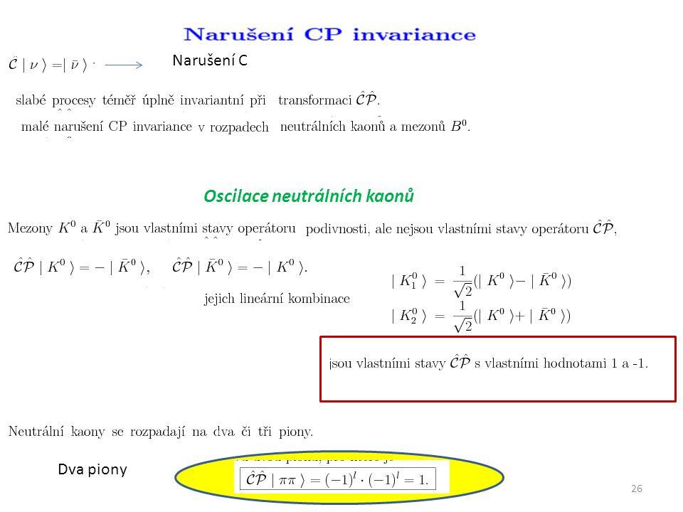 26 Narušení C Oscilace neutrálních kaonů Dva piony