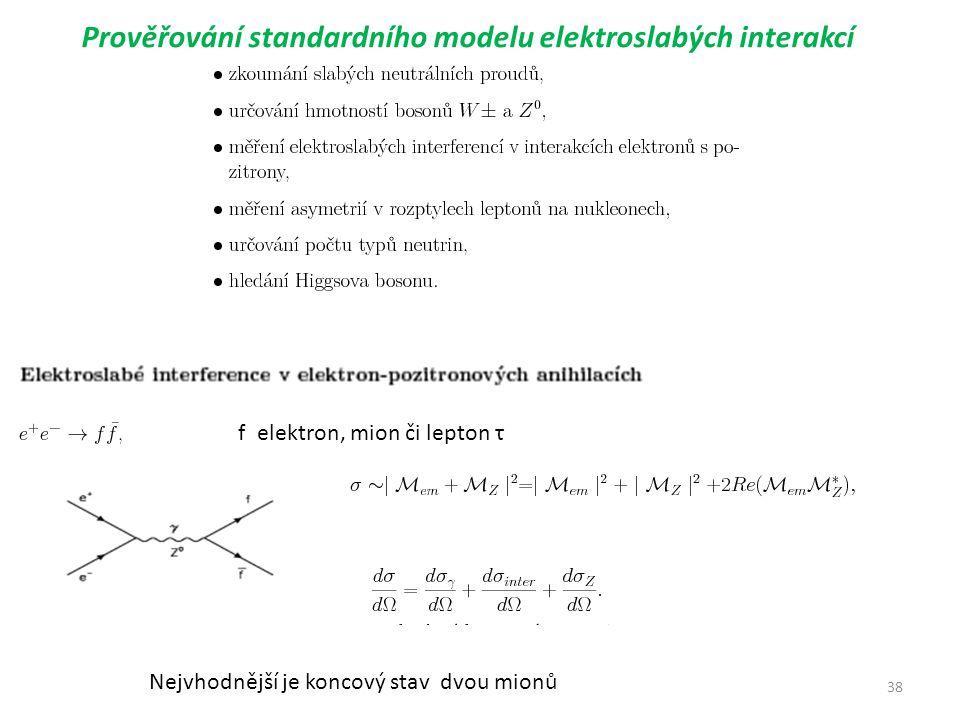 38 Prověřování standardního modelu elektroslabých interakcí f elektron, mion či lepton τ Nejvhodnější je koncový stav dvou mionů