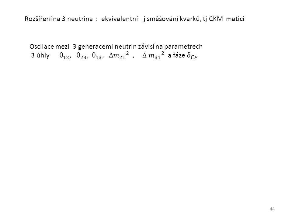 44 Rozšíření na 3 neutrina : ekvivalentní j směšování kvarků, tj CKM matici