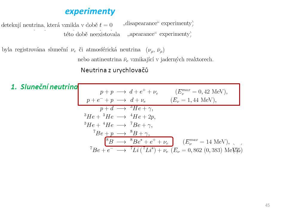45 experimenty 1. Sluneční neutrina Neutrina z urychlovačů