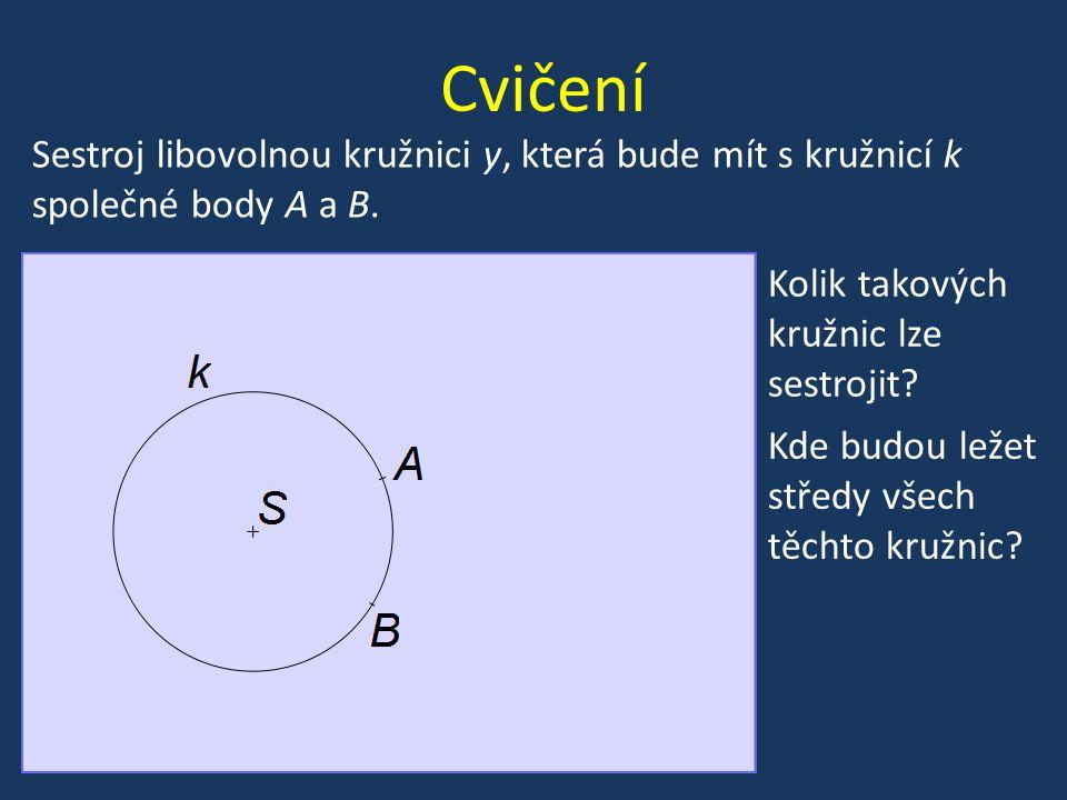 Cvičení Kolik takových kružnic lze sestrojit? Sestroj libovolnou kružnici y, která bude mít s kružnicí k společné body A a B. Kde budou ležet středy v