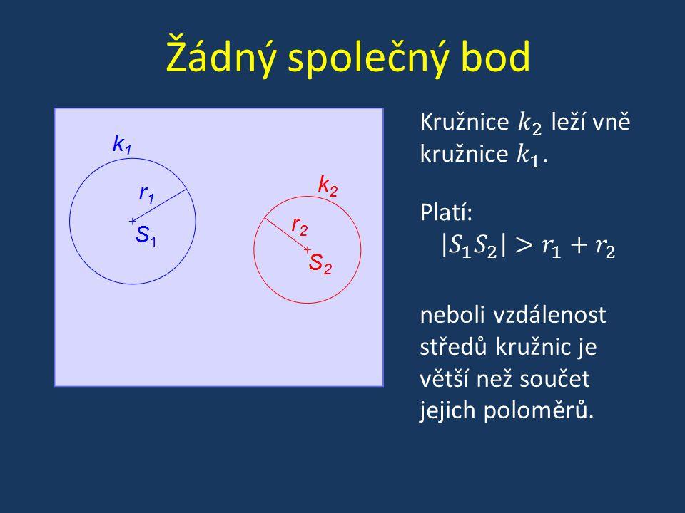 Žádný společný bod neboli vzdálenost středů kružnic je větší než součet jejich poloměrů.