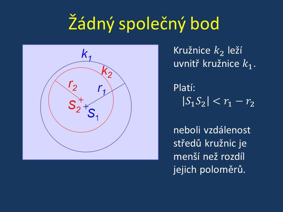 Žádný společný bod neboli vzdálenost středů kružnic je menší než rozdíl jejich poloměrů.