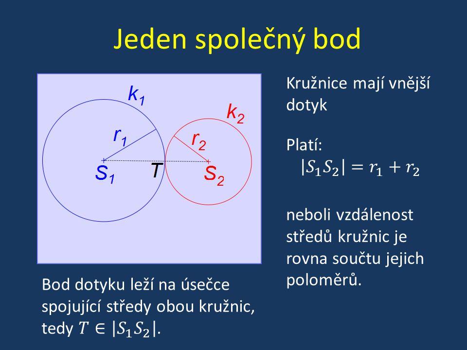 Jeden společný bod Kružnice mají vnitřní dotyk neboli vzdálenost středů kružnic je rovna rozdílu jejich poloměrů.