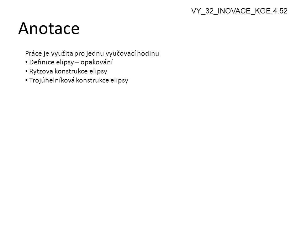 Anotace 2 Práce je využita pro jednu vyučovací hodinu Definice elipsy – opakování Rytzova konstrukce elipsy Trojúhelníková konstrukce elipsy VY_32_INO