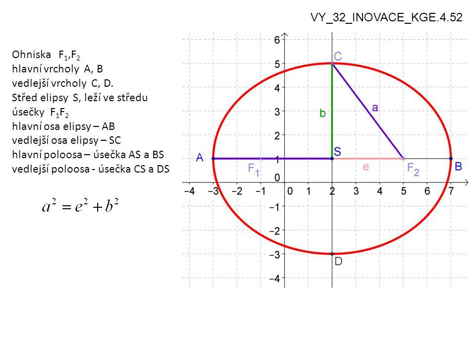 4 Rytzova konstrukce elipsy: Je dána dvojice sdružených průměrů elipsy → mají se najít hlavní a vedlejší vrcholy VY_32_INOVACE_KGE.4.52 Sdružené průměry kružnice a elipsy dva průměry se nazývají sdružené, právě když tečny v krajních bodech jednoho průměru jsou rovnoběžné s druhým průměrem sdruženost průměrů se rovnoběžným promítáním a tedy i osovou afinitou zachovává u kružnice jsou každé dva sdružené průměry současně navzájem kolmé u elipsy existuje jediná dvojice sdružených a současně kolmých průměrů - na hlavní a vedlejší ose