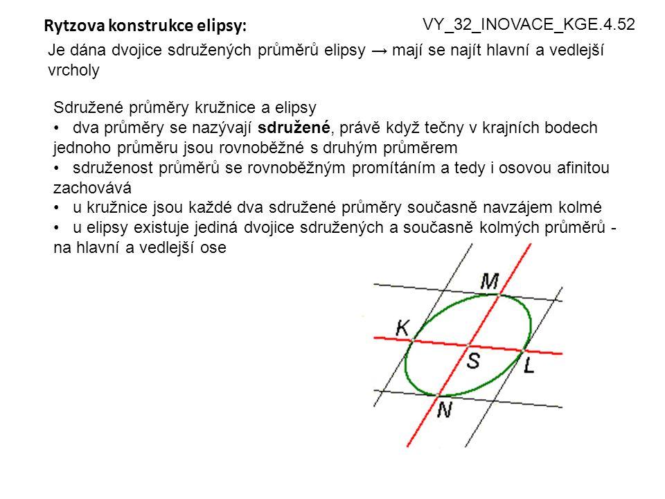 4 Rytzova konstrukce elipsy: Je dána dvojice sdružených průměrů elipsy → mají se najít hlavní a vedlejší vrcholy VY_32_INOVACE_KGE.4.52 Sdružené průmě