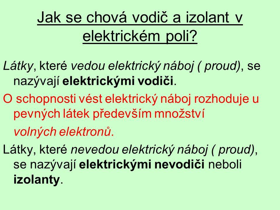 Látky, které vedou elektrický náboj ( proud), se nazývají elektrickými vodiči.