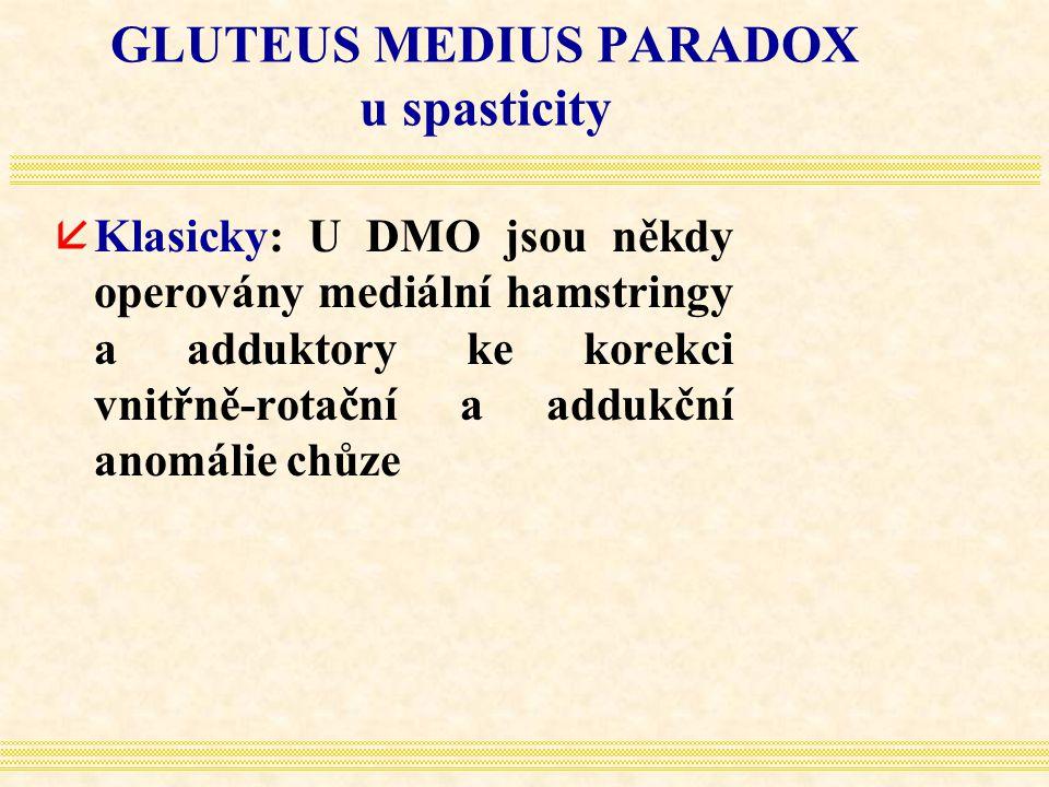 GLUTEUS MEDIUS PARADOX u spasticity åKlasicky: U DMO jsou někdy operovány mediální hamstringy a adduktory ke korekci vnitřně-rotační a addukční anomál