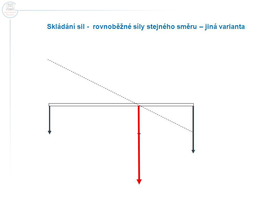 Skládání sil - rovnoběžné síly stejného směru – jiná varianta
