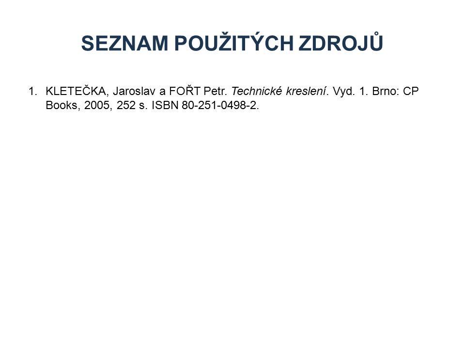 1.KLETEČKA, Jaroslav a FOŘT Petr. Technické kreslení. Vyd. 1. Brno: CP Books, 2005, 252 s. ISBN 80-251-0498-2. SEZNAM POUŽITÝCH ZDROJŮ