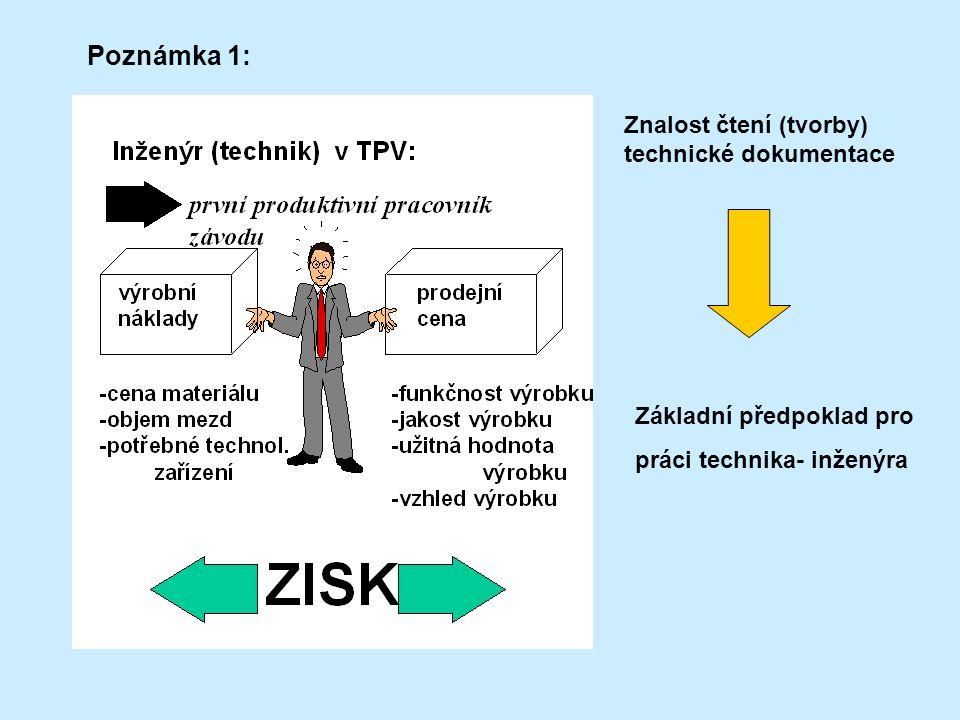 Poznámka 1: Znalost čtení (tvorby) technické dokumentace Základní předpoklad pro práci technika- inženýra