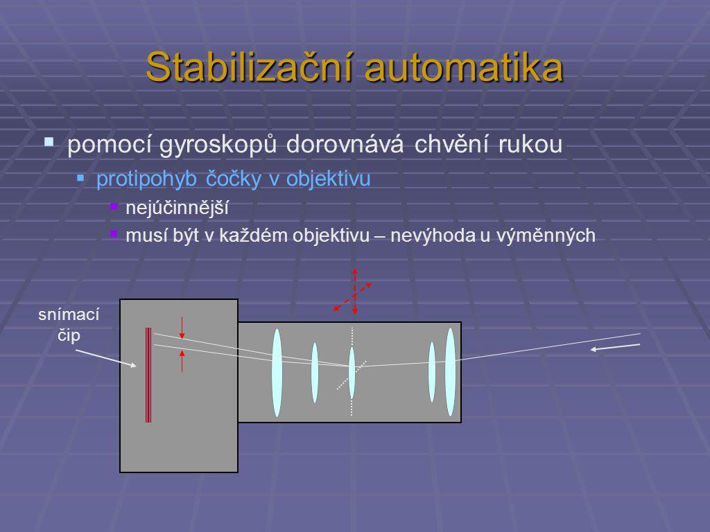 Stabilizační automatika  pomocí gyroskopů dorovnává chvění rukou  protipohyb čočky v objektivu  nejúčinnější  musí být v každém objektivu – nevýhoda u výměnných snímací čip
