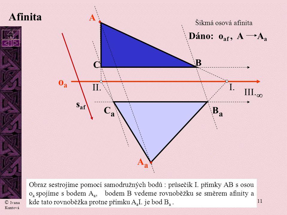 10 oaoa I. II. A B C AaAa BaBa III. s af CaCa Pokud odpovídající si body leží na kolmici k ose afinity v opačné polorovině a ve stejné vzdálenosti od