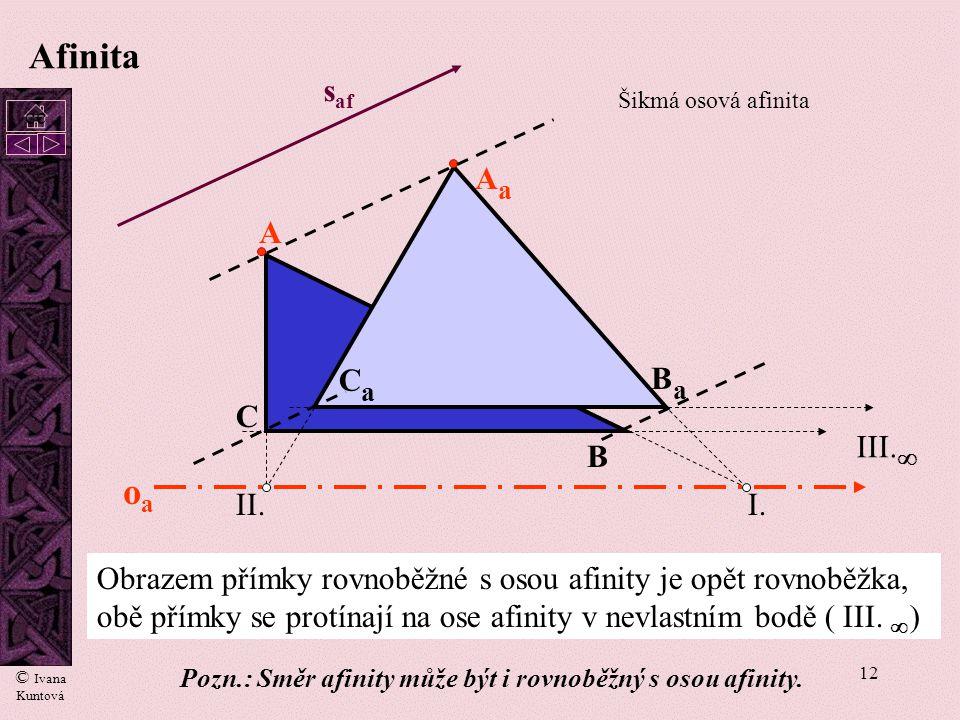 11 Afinita A AaAa oaoa I. II. B C BaBa CaCa III.  s af Šikmá osová afinita Obraz sestrojíme pomocí samodružných bodů : průsečík I. přímky AB s osou o
