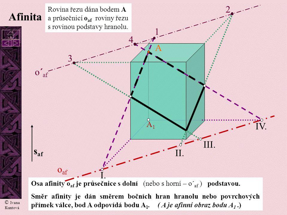 13 Rovina řezu je dána třemi nekolineárními body A, B, C. o af A B C Afinita I. II. III. Průsečnice roviny řezu s protějšími rovnoběžnými stěnami hran