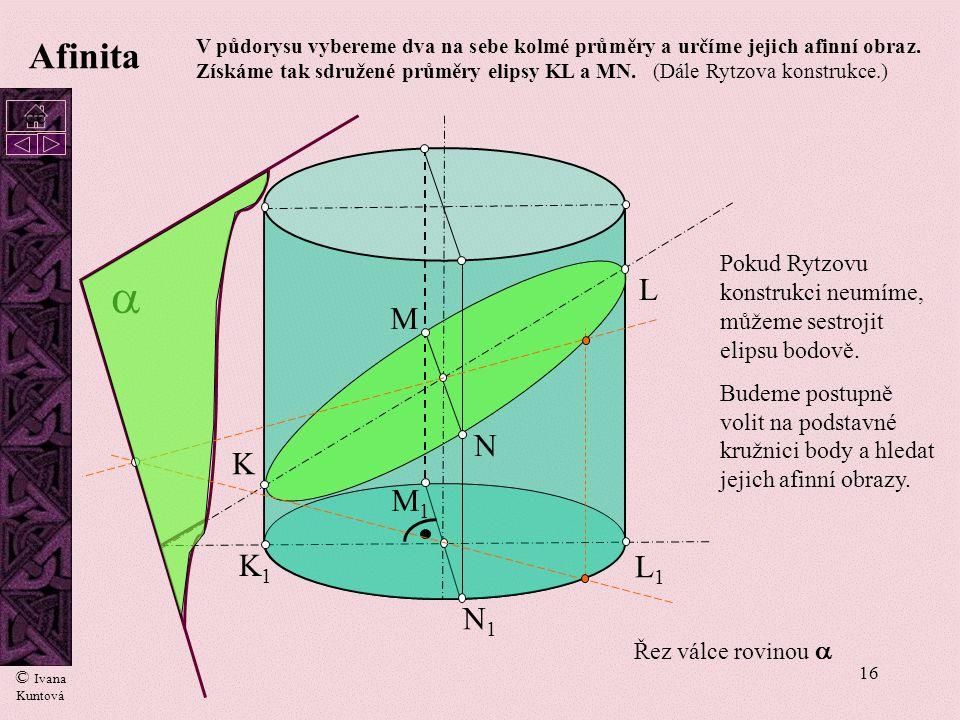 15 A1A1 A I. II. III. IV.  ´´ Průsečnice roviny řezu s dolní a horní podstavou hranolu jsou rovnoběžky s osou afinity. Afinita Rovina řezu dána bod