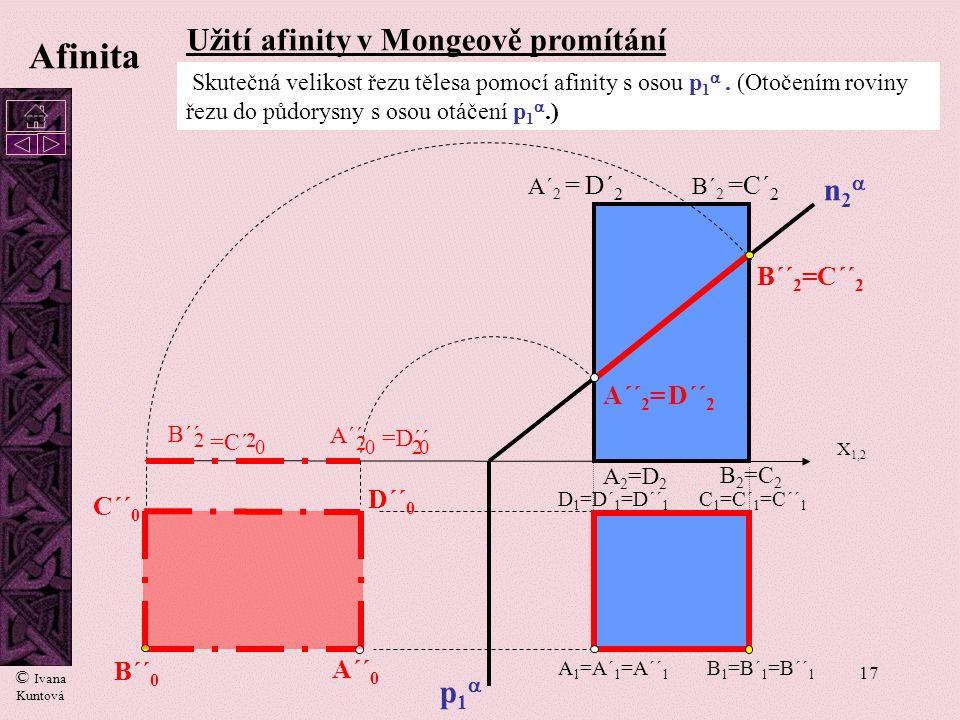 16 Afinita  Řez válce rovinou  K L M N K1K1 L1L1 N1N1 M1M1 V půdorysu vybereme dva na sebe kolmé průměry a určíme jejich afinní obraz. Získáme tak s