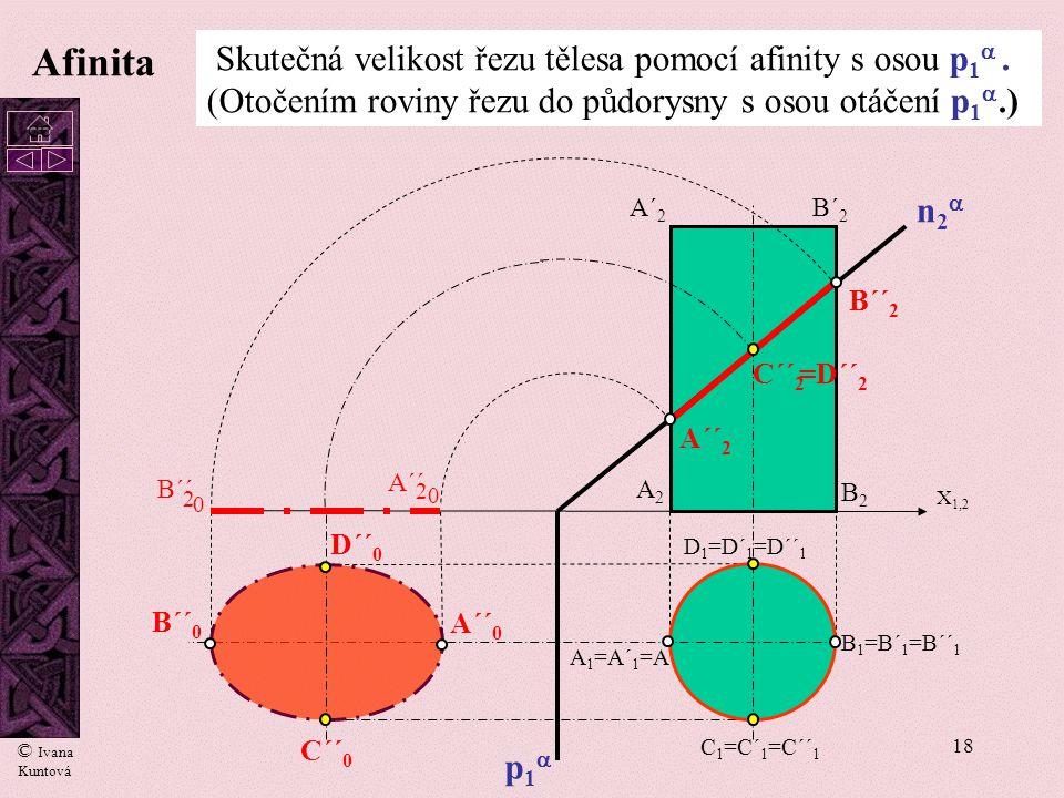 17 Afinita Skutečná velikost řezu tělesa pomocí afinity s osou p 1 . (Otočením roviny řezu do půdorysny s osou otáčení p 1 .) p1p1 n2n2 A 1 =A´