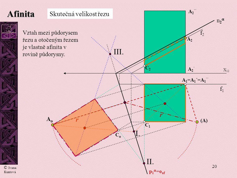 19 Afinita A1A1 A2A2 (A) AoAo r Poloměr otáčení - r C1C1 C2C2 CoCo p 1  =o af = osa otáčení n2n2 X 12 Otočení roviny  do půdorysny P 1 =(P)=P o s1