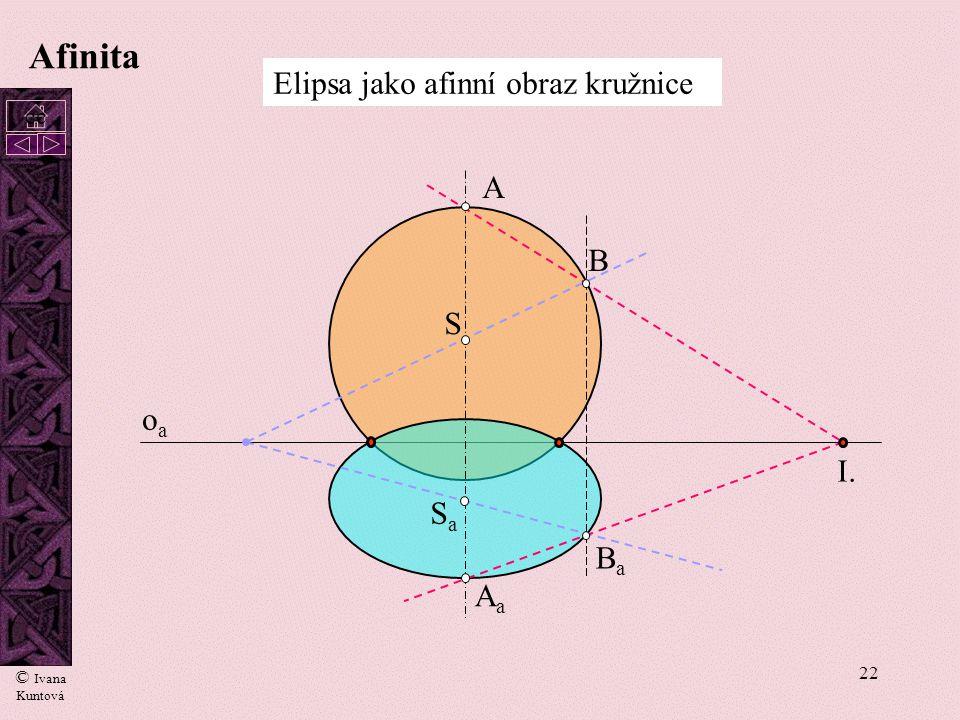 21 Afinita A1A1 A2A2 (A) AoAo r Poloměr otáčení - r C1C1 C2C2 CoCo p 1  =o af = osa otáčení n2n2 X 12 Otočení roviny  do půdorysny Kolmice k rovin