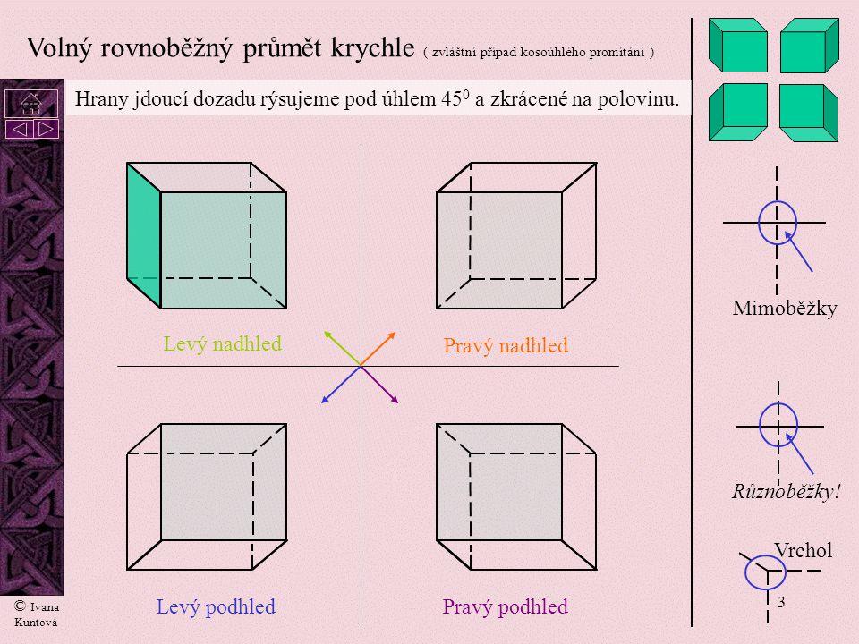 3 Volný rovnoběžný průmět krychle ( zvláštní případ kosoúhlého promítání ) Mimoběžky Různoběžky.