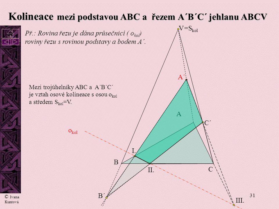30 Kolineace mezi podstavou ABCD a řezem A´B´C´D´ jehlanu ABCDV I. II. III. IV. A´ A B C D V B´ C´ D´ o kol = S kol Středem kolineace je vrchol jehlan