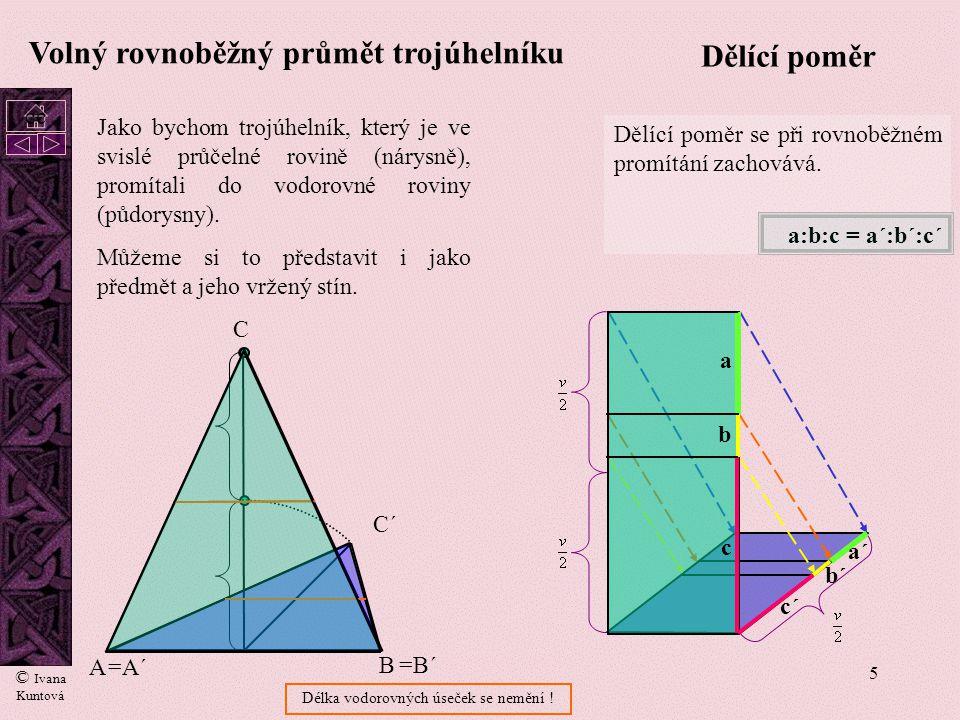 5 A B =A´ =B´ C C´ Volný rovnoběžný průmět trojúhelníku Dělící poměr se při rovnoběžném promítání zachovává.