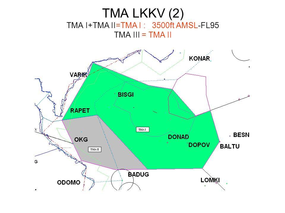 TMA LKKV (2) TMA I+TMA II=TMA I :3500ft AMSL-FL95 TMA III = TMA II