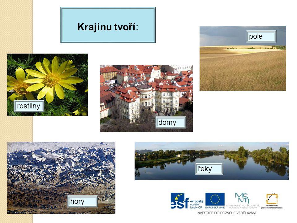 Krajinu tvoří: pole rostliny hory řeky domy