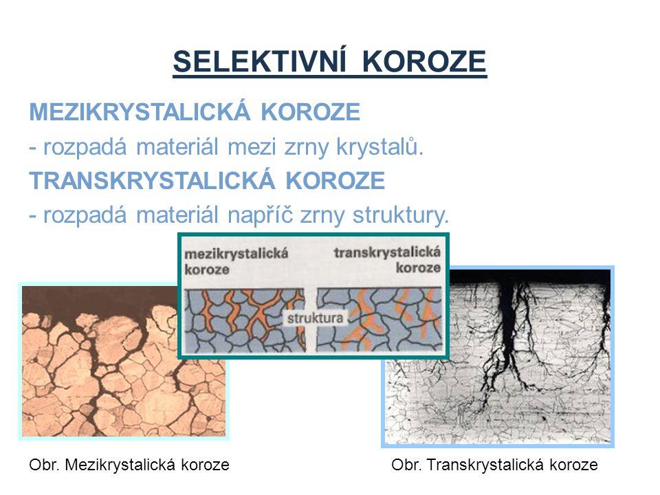 SELEKTIVNÍ KOROZE MEZIKRYSTALICKÁ KOROZE - rozpadá materiál mezi zrny krystalů. TRANSKRYSTALICKÁ KOROZE - rozpadá materiál napříč zrny struktury. Obr.