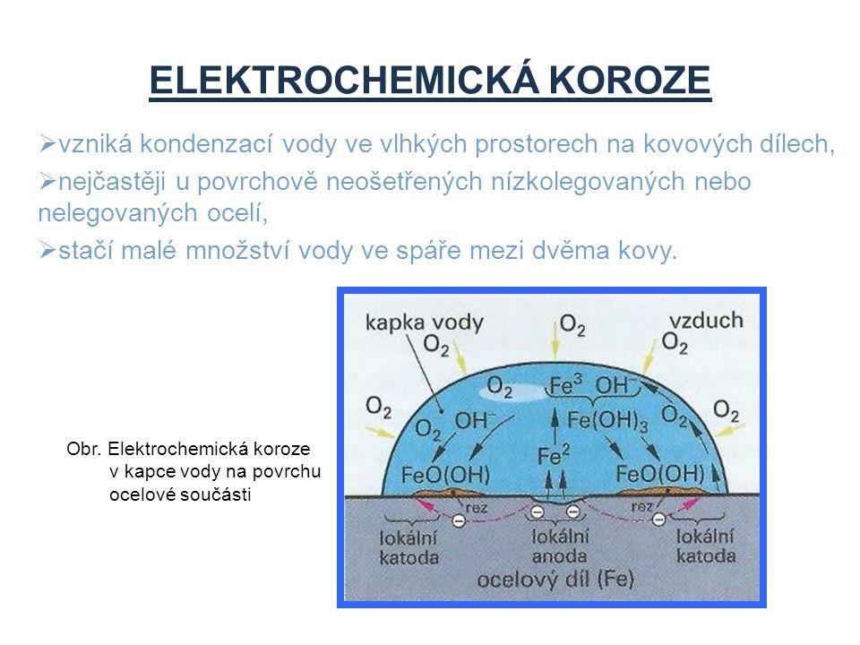 ELEKTROCHEMICKÁ KOROZE  vzniká kondenzací vody ve vlhkých prostorech na kovových dílech,  nejčastěji u povrchově neošetřených nízkolegovaných nebo n