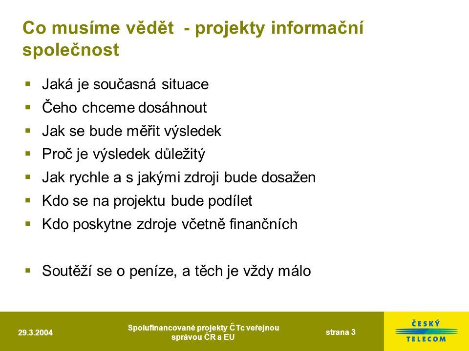 29.3.2004 Spolufinancované projekty ČTc veřejnou správou ČR a EU strana 3 Co musíme vědět - projekty informační společnost  Jaká je současná situace