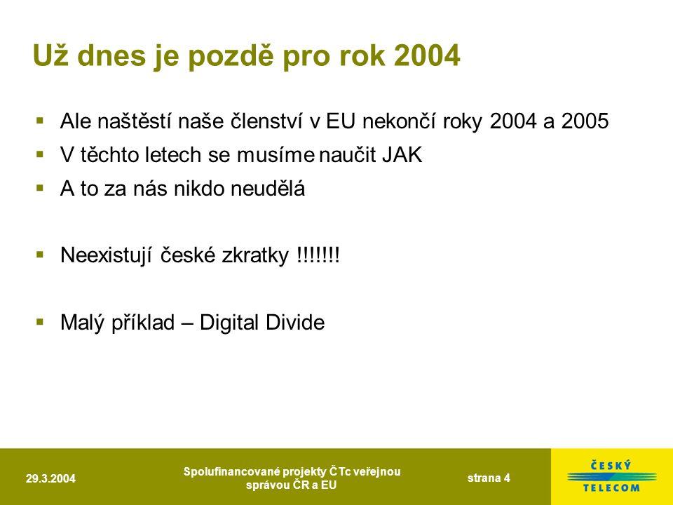 29.3.2004 Spolufinancované projekty ČTc veřejnou správou ČR a EU strana 4 Už dnes je pozdě pro rok 2004  Ale naštěstí naše členství v EU nekončí roky 2004 a 2005  V těchto letech se musíme naučit JAK  A to za nás nikdo neudělá  Neexistují české zkratky !!!!!!.